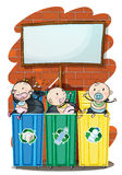 Three kids in the trashbins below the empty signboard Stock Image