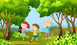 Three kids walking in the woods. Illustration royalty free illustration