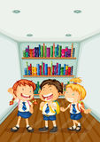 Three kids wearing their school uniforms Stock Photo