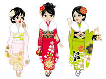 Three Kimono girls Royalty Free Stock Photography