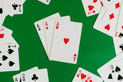 three of a kind ace ,poker card stock photography