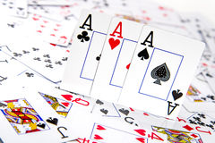 Three of a kind Aces stock photos