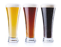 Three kind of beer royalty free stock photo