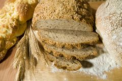 Three kind of bread. Three kinds of fresh, well smelled bread and a wheat Royalty Free Stock Image
