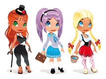 Three kind of ladies. Cartoon and  character. Objects isolated Stock Photo