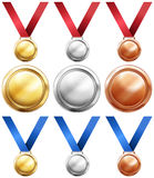 Three kind of medals with red and blue ribbon Stock Photo