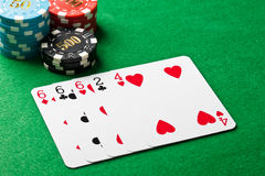 Three of a kind in poker Stock Images