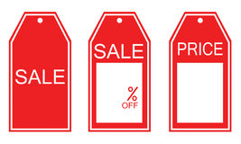 Three kind of red sale tags Stock Photos