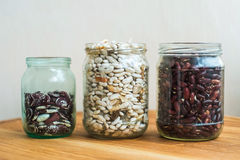 Three kind of sorts of beans in glass jars Royalty Free Stock Photos