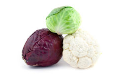 Three kinds of cabbage Royalty Free Stock Images