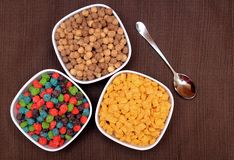 Three kinds of cereals Royalty Free Stock Photos