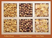 Three kinds of cereals Stock Images