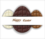 Three kinds of chocolate Easter eggs. Stock Photography
