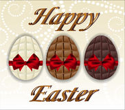 Three kinds of chocolate Easter eggs. Royalty Free Stock Image