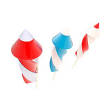 Three kinds of fireworks rockets isolated. On white Royalty Free Stock Images