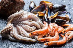 Three kinds of fresh seafood Stock Photo