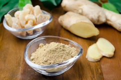 Three kinds of ginger - ground, fresh and candied Royalty Free Stock Photography