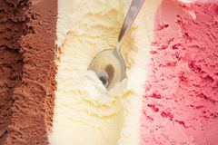 Three kinds of ice cream in a box royalty free stock photos