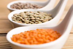 Three kinds of lentil in bowls Royalty Free Stock Photography