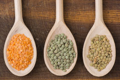 Three kinds of lentil Royalty Free Stock Photos
