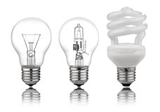 Three kinds of light bulbs Stock Image