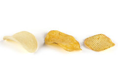 Three kinds of potato chips Royalty Free Stock Image