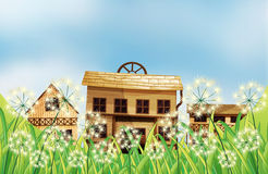 Three kinds of wooden houses. Illustration of the three kinds of wooden houses Stock Photo
