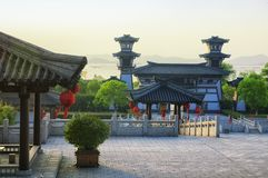 Three kingdoms scenic area wuxi. The three kingdoms scenic area Wu replica kingdom buildings in the Wuxi China on Tai lake or taihu in Jiangsu province at sunset royalty free stock images