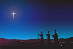 Three Kings. The Three Kings follow the star in the East to Bethlehem. Nativity scene.  Space for text Stock Photography