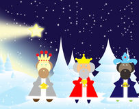 Three kings. Bearing gifts for the glow Stock Images