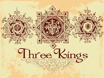 Three Kings. Vintage old t shirt design Stock Photos