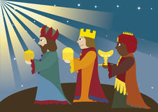 Three kings. Coming to Bethlehem, three Magi, christmas theme, nativity scene, Biblical story, new testament Stock Photo