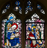 Three Kings Baby Jesus Stained Glass Window Stock Images
