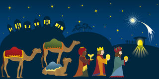 Three Kings in Bethlehem. Three Kings coming to Bethlehem, three Magi, christmas theme, nativity scene, Biblical story, new testament Royalty Free Stock Images