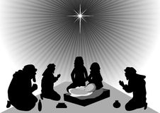 The three Kings bringing gifts to baby Jesus. Wise men bring gold, frankincense, and myrrh to baby Jesus Stock Images