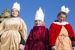Three kings - Caspar, Melthior, Balthazar. Three little girls dressed like three kings on Three kings day in Czech Republic. January 6th Royalty Free Stock Images