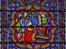 Three Kings Christ Stained Glass Notre Dame Paris France Royalty Free Stock Images