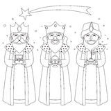Three Kings Coloring Line Art Stock Image