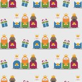 Three Kings and gifts seamless pattern Royalty Free Stock Photo