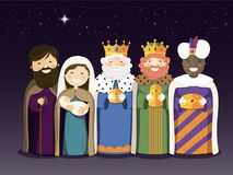 The Three Kings and Holy Family on the Epiphany day Stock Photo