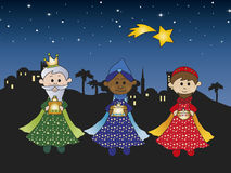 Three kings. Illustration of three kings with comet Stock Photography