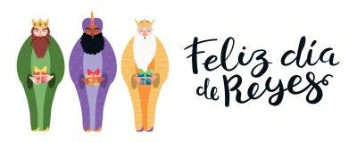Three kings illustration, quote in Spanish. Hand drawn vector illustration of three kings with gifts, Spanish quote Feliz Dia de Reyes, Happy Kings Day. Isolated stock illustration