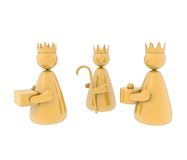 Three kings, isolated. Stylized representation of the three kings as golden puppets. Isolated on white background Royalty Free Stock Image