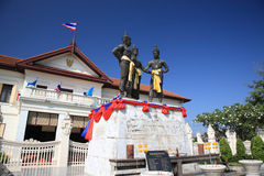 Three Kings Monument in the center of Chiang Mai, Thailand Royalty Free Stock Image