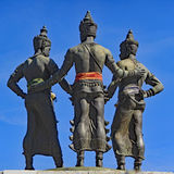 Three Kings Monument in Chiang Mai. The Three Kings Montument in Old Town Chiang Mai, Thailand, taken from behind against a clear blue sky Royalty Free Stock Photos