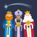 The three Kings of Orient Chrismas card. Three Wise Men. Cartoon character design. Melchior, Gaspard and Balthazar with presents for Jesus. Vector illustration royalty free illustration