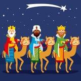 Three Kings Riding Camel. Three happy kings riding camel following shooting star Stock Image