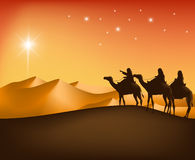 The Three Kings Riding with Camels in the Desert. Guided with the Star Going to Bethlehem to See New Born Jesus. Editable Vector Illustration Royalty Free Stock Image