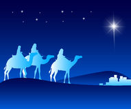 The Three Kings Riding with Camels in the Desert. Guided with the Star Going to Bethlehem to See New Born Jesus. Editable Vector Illustration Stock Photos