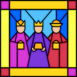 Three kings in stained glass royalty free stock photos